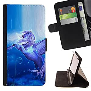- Pegasus Flying Wings Horse Mystical Blue - - Prima caja de la PU billetera de cuero con ranuras para tarjetas, efectivo desmontable correa para l Funny HouseFOR Sony Xperia m55w Z3 Compact Mini