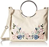 (US) T-Shirt & Jeans Ring Handle Satchel with Floral Embroidery, Bne