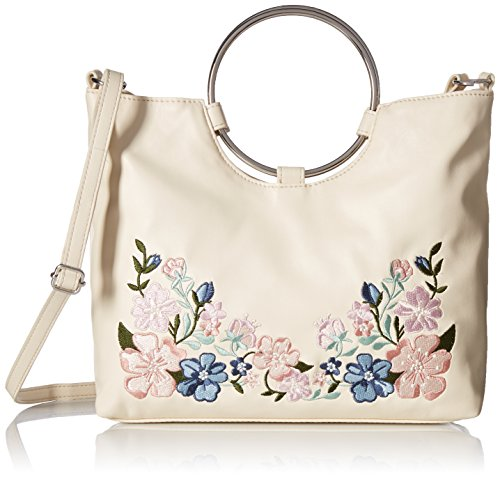 T-Shirt & Jeans Ring Handle Satchel with Floral Embroidery, bne