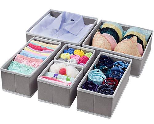 homyfort Cloth Dresser Drawer Organizers,Foldable Closet Storage Bins Cubes Dividers for Clothes,Underwear,Lingerie,Bras,Ties,Socks Set of 6 Light Grey