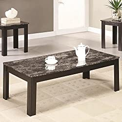 3-Piece Wood Coffee and End Table Set with Faux Marble Top by COASTER COMPANY OF