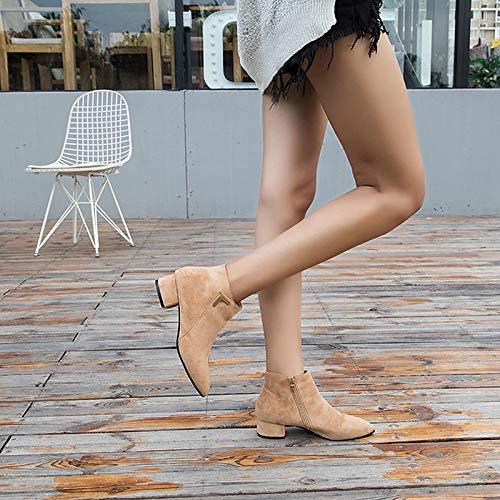 Boots Brown Casuales Mujer De Heel calf Otoño Para Zhznvx Mid Botas Chunky Pu Botines marrón Negro qxZ7XWAfw