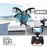6-Axis Gyro 4 Channels Hobby RC QuadcopterDrone with Camera and Live Video, UAV, Mini Drone with Headless Mode for Beginner, Easy to Control, Flying Egg, Black Sold By Happywave