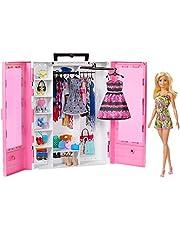 Barbie GBK12 – bärbar garderob med klädhängare inklusive docka, docktillbehör och dockor leksaker från 3 år