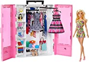 Barbie Fashionistas Ultimate Closet Portable Fashion Toy with Doll, Clothing, Accessories and Hangars, Gift fo