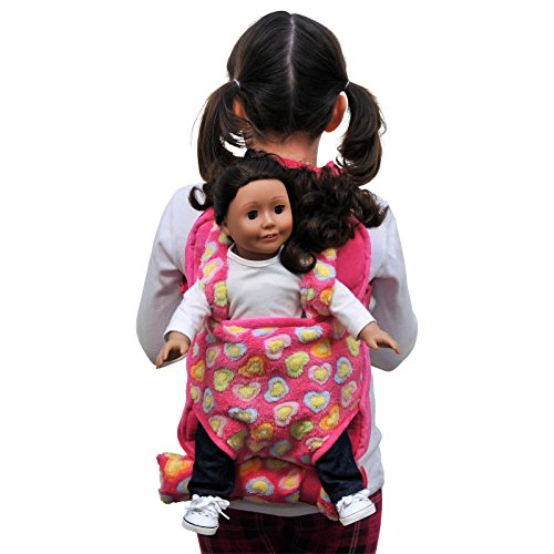 The Queen's Treasures Pink Baby Doll Backpack Carrier and Sleeping Bag for 18 inch and 15 inch Dolls. Fits American Girl Dolls & Bitty Baby Dolls