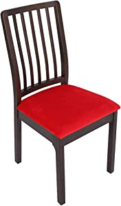 Soft Velvet Stretch Fitted Dining Chair Seat Covers, Removable Washable Anti-Dust Dining Room Upholstered Chair Seat Cushion Cover Kitchen Chair Protector Slipcovers with Ties - Set of 6, Red