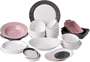 Hankook Chinaware Bone China Peach Gray Fusion Home Set 31p, Dinner Set Service for 6