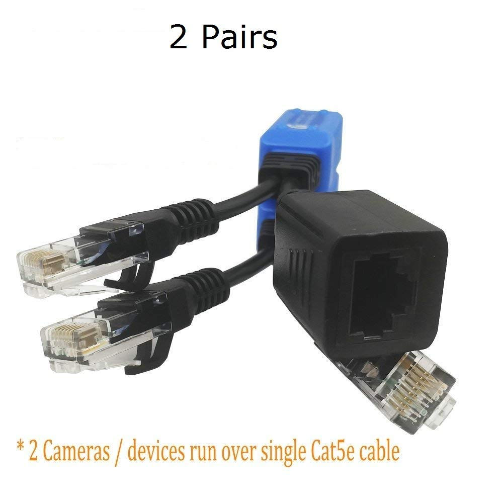 FocusHD 2 Pair Cat5e Ethernet Cable Combiner RJ45 Cable Sharing Kits/Splitter, Upgraded 2-in-1 PoE Data Adapter for 4 Power Over Ethernet Security Cameras or Other Personal Devices