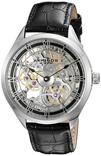 Mechanical Dial Silver (Akribos XXIV Amazon Exclusive Men's AK802 Mechanical Hand Wind Watch (Silver/Brown))