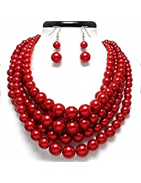 Statement Beaded Layered Strands Glitter Red Simulated-Pearl Bead Silver Chain Necklace Earring Set Gift