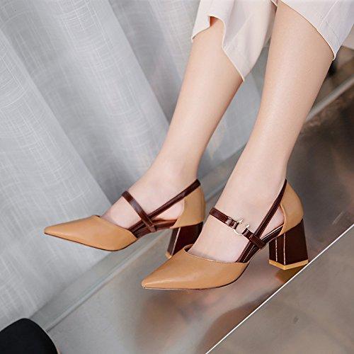 1color Pour La Mode De Femmes Sauvages Sandales Yalanshop Travail Des Talons Avec Chaussures Hauts tROw1xBnqW