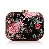 Fit & Wit Faux Leather Evening Cocktail Wedding Party Handbag Clutch Purse Shoulder Bag - Peony Flower - Pink