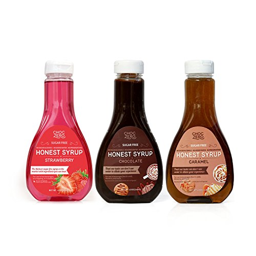 ChocZero's Strawberry Syrup, Chocolate Syrup, and Caramel Syrup Combo. Sugar Free, Low Net Carb, No Preservatives. Gluten Free. No Sugar Alcohols. Sundae topping. Dessert sauce.(3 bottles) (Recipe Ham Honey Glazed)