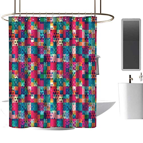 Mannwarehouse Geometric Shower Curtain with Hooks Fashion Themed Italian Grunge Modern Color Contrast Squares with Dots Artwork goof Proof Shower W60 xL72