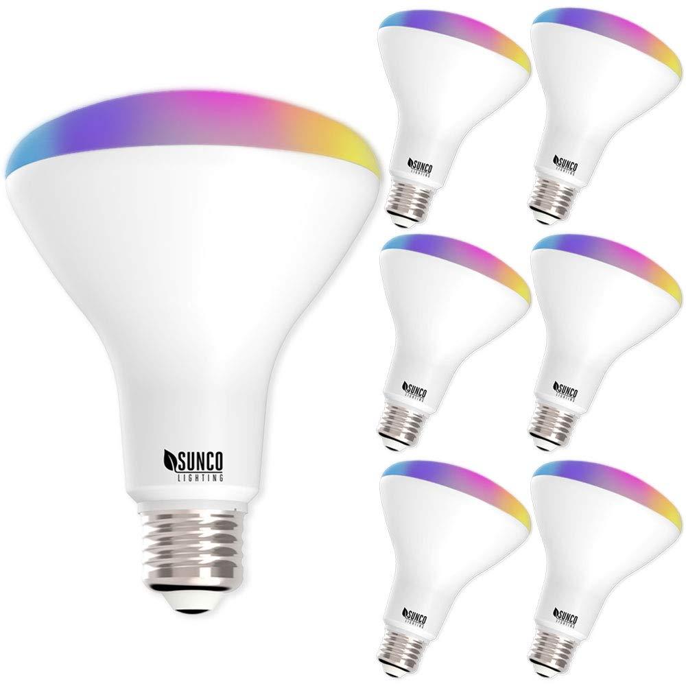 Sunco Lighting 6 Pack WiFi LED Smart Bulb, BR30, 8W, Color Changing (RGB & CCT), Dimmable, 650 LM, Compatible with Amazon Alexa & Google Assistant - No Hub Required