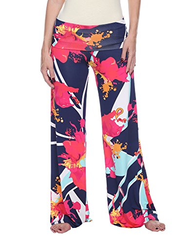 White Mark Women's Wide Leg Palazzo Pants Printed Abstract Splattered Paint in Pink Navy Blue - Large from White Mark