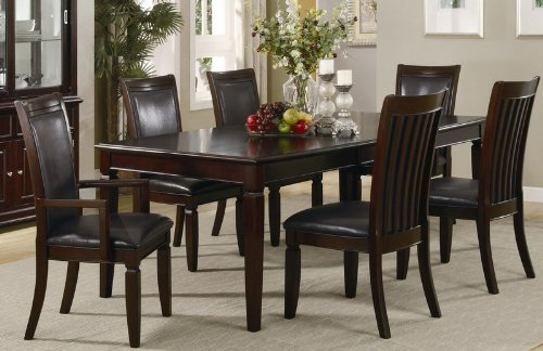 7pc Formal Dining Table and Chairs Set in Warm Walnut Finish