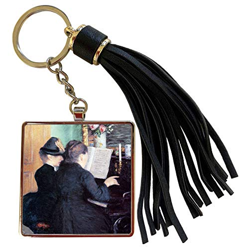 3dRose BLN Music Featured in Fine Art Collection - The Piano Lesson, 1881 by Gustave Caillebotte Two women at a Piano - Tassel Key Chain (tkc_172068_1) (Oasis A Great Big World Piano Sheet Music)