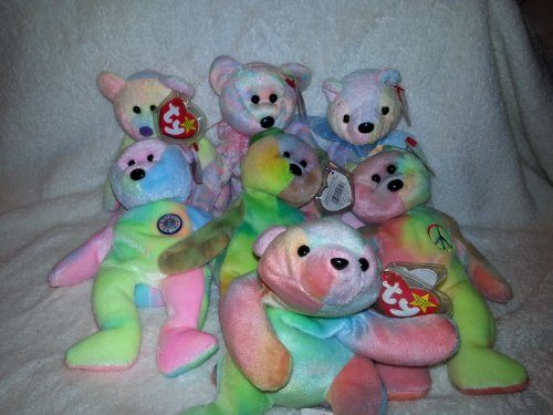- Ty Dye Beanie Babies - Garcia (Extremely Rare), Peace, Mellow, Groovy, Celebrate, B.B. Bear, and Sammy