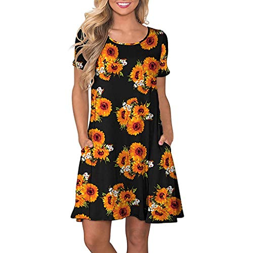 (Women's Sundress Dress Summer Short Sleeve Floral Printed Tunic Top Swing T-Shirt Loose Casual Dress with Pockets)