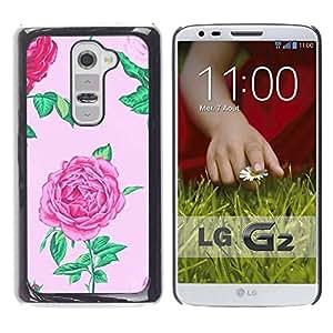 YOYOYO Smartphone Protección Defender Duro Negro Funda Imagen Diseño Carcasa Tapa Case Skin Cover Para LG G2 D800 D802 D802TA D803 VS980 LS980 - begonia rosa floral de flor de primavera pétalo