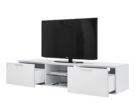 Porta tv moderno con 2 cestoni estraibili 1 ripiano vetro regolabile ...