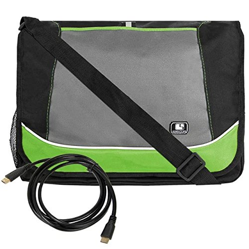 HDMI-mini HDMI 6' Cable + Multiple Professional SumacLife Messenger Shoulder Bag for HP EliteBook Folio Fit up to 15.6 inch laptop Green