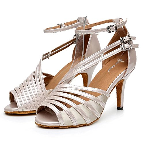 Cdsodance Donna Elegante Peep Toe Pelle Pu Pelle / Raso Mroom Ballroom Salsa Latino Tango Sandali Da Ballo Beige - 8.5 Cm Tacco