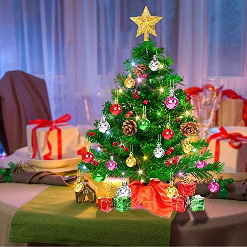Sapin de Noël de Table, 50 cm Mini Sapin de Noël Artificiel avec Guirlande Lumineuse Multicolore, Arbre d'Etoiles et Ornements, Petit Arbre de Noël à Piles pour Table, Décoration de la Maison