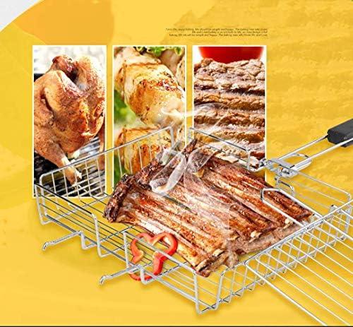 YGB Profession BBQ Grill Cartella Portatile per griglia Cartella per Carne Bistecca di Pesce Carne Verdura Campeggio BBQ Barbecue Strumento con Manico in Legno
