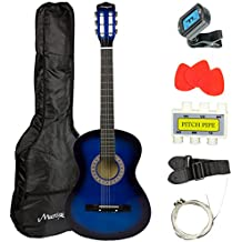 Martin Smith 38 Inch Acoustic Guitar, Blue, With Case, Pick, Tuner, Strap, Extra Strings and 2 months of Lessons