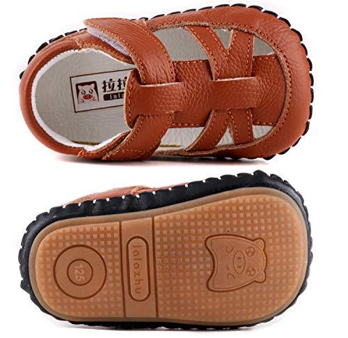 6148e9a93cf91 LONSOEN Baby Boys Girls Genuine Leather Sandals Summer Outdoor Pre-Walker  Water Shoes(Infant/Toddler) KSD010 Brown CN14