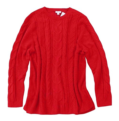 J Jill Women's - Chenille Cable Knit Crew Sweater (Red, X-Large (J Jill Tall)