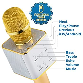 Wireless Microphone Karaoke Mic Amplifier Machine Bluetooth Handheld Portable Broadcast, Present, Youtube Songs Connect Android, Apple & Computers – By Karaoke-mike(gold) 4