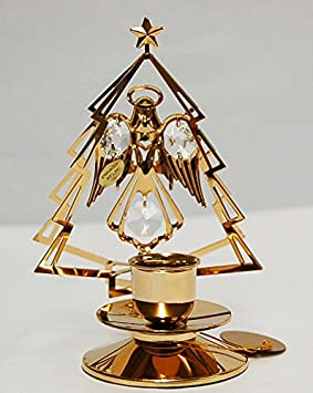 24k Gold Plated Angel w/X'mas Tree Taper Holder with Clear Swarovski Austrian Crystal