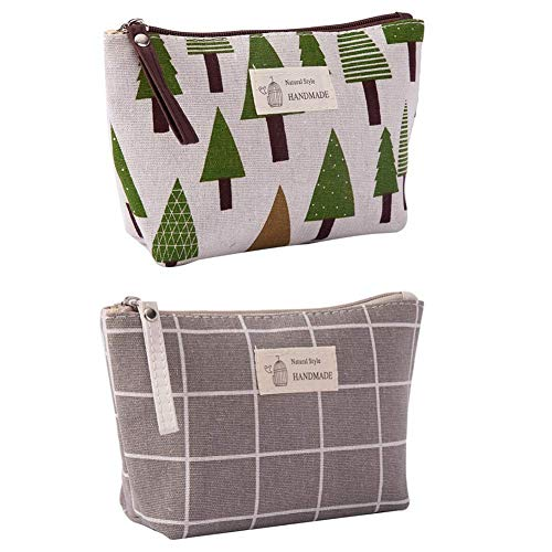 Canvas Large Makeup Bag Pouch Purse Coin Bag Cosmetic Organizer Multifunctional Handmade Cloth Bag for Women (21X13cm/ 8.27X5.12 Inch) (Gray Grid + Little Tree)