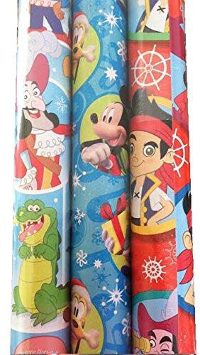3pk Disney Junior BOY ~ Holiday Gift Wrap -
