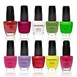 Nanacoco Nail Polish Color Lacquer Set 10-Piece Collection #14 Summer Neon