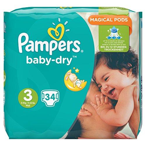 Pampers Baby-Dry Größe 3,5-9 kg Sparpack, 4er Pack (4 x 34 Stück)