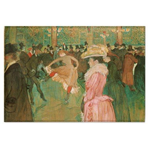 Masterpiece Painting Artwork Printed Cotton Cloth Fabric Prints Poster Flag Banner Wall Hanging Tapestry - La danse au Moulin Rouge by Henri de Toulouse-Lautrec (Large-37.40