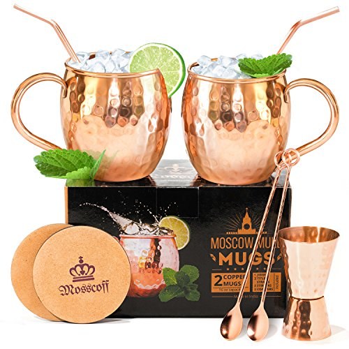Most complete Moscow mule kit – Do not overpay, 7 extra items come with the mugs. 2x16OZ Moscow Mule Copper Mugs with Jigger, Spoons, Coasters and Copper straws in a gift box. Moscow mule gift set.