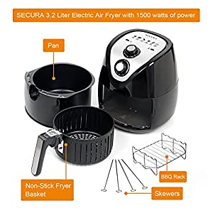 Secura Air Fryer 3.4Qt / 3.2L 1500-Watt Electric Hot XL Air Fryers Oven Oil Free Nonstick Cooker with Additional…