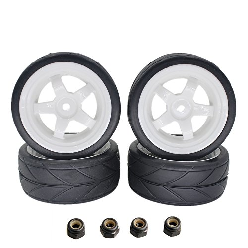26mm RC Tires V-Tread & 5 Spokes Wheel Rims 12mm Hex Hub For 1/10th Redcat HSP HPI Touring On Road Car (Pack of 4) (Hpi Rim)
