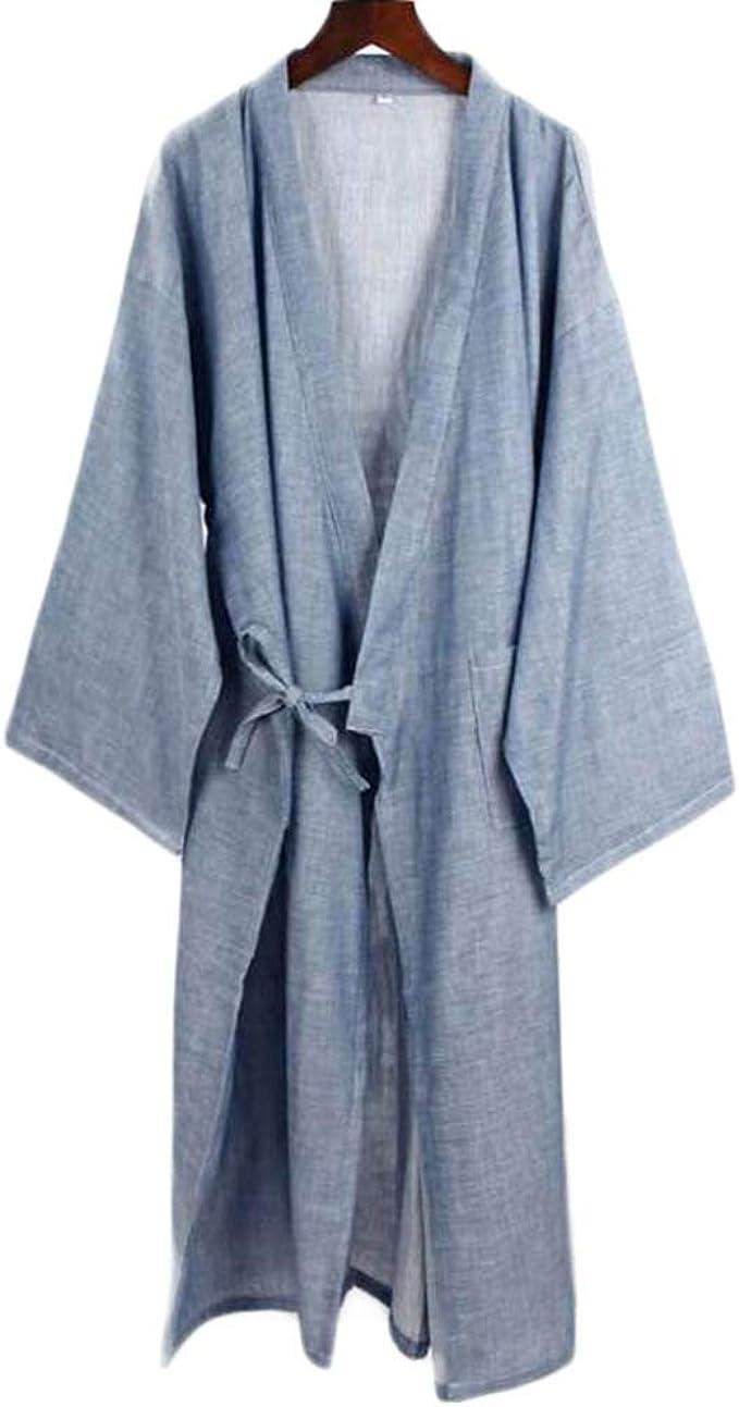 Hombres de Estilo japonés de algodón Fino Albornoz Pijamas Kimono Batas de baño Ropa de dormir-F15: Amazon.es: Ropa y accesorios