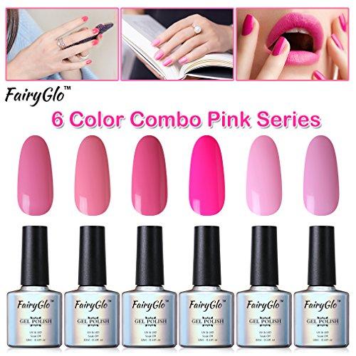 FairyGlo 6 PCS Pink Gel Nail Polish UV LED Soak Off Varnish Lacquer Nail Art Kit Manicure Pedicure Decor Collection Gift Set For Beauty 10ml 001