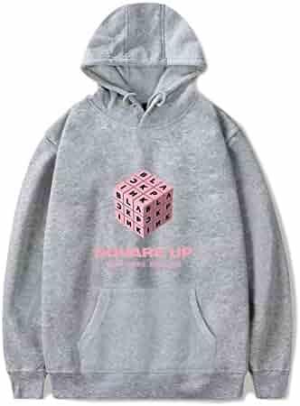 ce5f6fc82a53 XIAOMEI Kpop Black Pink Square up Printed Women Men Winter Autumn Casual Hoodies  Sweatshirts