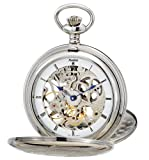 Avalon Imperiale Series 17 Jewel Hand Wind Silver-Tone Skeleton Pocket Watch and Chain # 8800SX