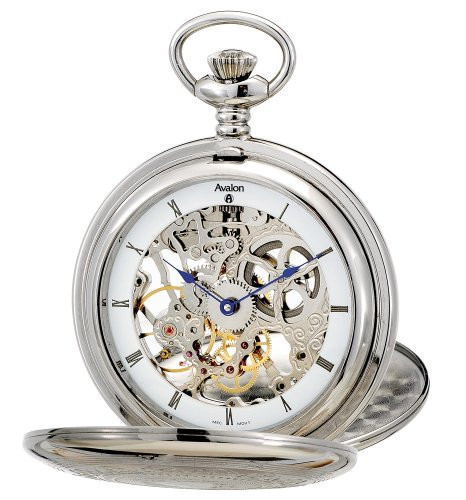 Avalon Imperiale Series 17 Jewel Hand Wind Silver-Tone Skeleton Pocket Watch and Chain # 8800SX by Avalon