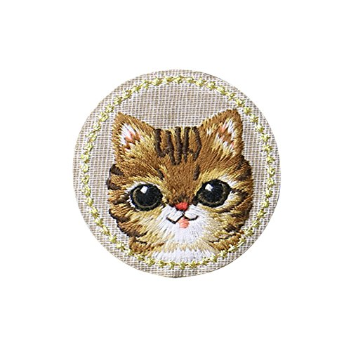 Sticker Iron (XUNHUI Cute Cat Patches Animals Embroidered for Clothing Iron Applique Clothes Stickers Badge DIY 1 Piece)